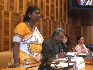 Abirami Jotheeswaran speaking at UN HRC41 Caste Gender Justice Event